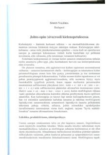 Johto-opin (sivu)rooli kielenopetuksessa