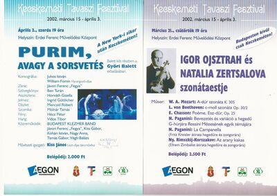 Purim, avagy a sorsvetés – balettelőadás, valamint Igor Ojsztrah és Natalia Zertsalova szonátaestje