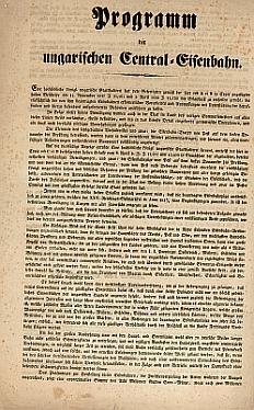 A Magyar Középponti Vasút programja, 1839