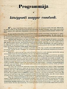 A Középponti Magyar Vasút programja, 1839