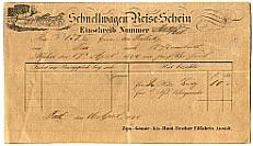 Gyorskocsi-jegy, hátoldalán szabályzattal, 1842