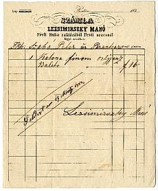 Lezsimirszky Manó a Pesti uracshoz c. férfiruha-raktárának számlája, 1852