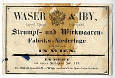 Waser és Iby bécsi harisnyagyár pesti lerakatának számlája, cégreklámmal