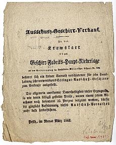 Hirdetés selejtes edények vásáráról a pesti Müller könyvkereskedés épületében, 1844