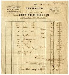 Jules Darier pesti fűszeres számlája (L. W. Forster utódja), 1848