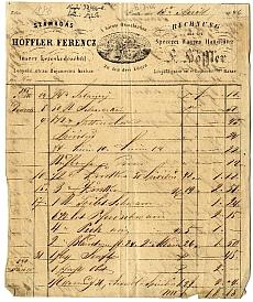 Höffler Ferenc pesti fűszeres számlája, A három Oroszlánhoz, 1846