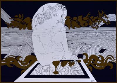 Asztalon könyöklő nő