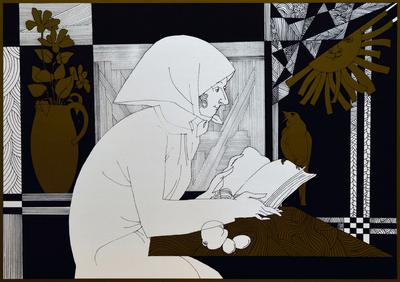 Olvasó nő madárral