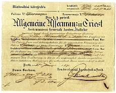 Trieszti Általános Biztosító biztosítási nyugtája, 1847