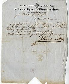 Trieszti Általános Biztosító fejléces levele, 1847