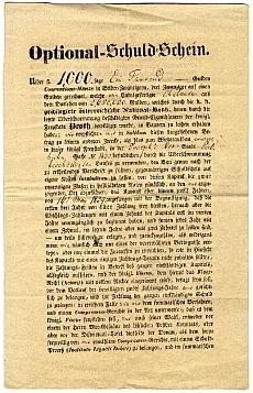 Kötelezvény az Osztrák Nemzeti Bank részére, 1839