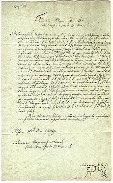 Fáy András levele a budai polgármesterhez a Pestmegyei Takarépénztár ügyében, 1839