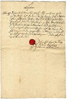Tímármester kötelezvénye, 1771