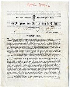 A Trieszti Általános Biztosító pesti ügynökségének körirata, 1848