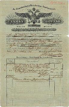 A Trieszti Általános Biztosító pesti ügynökségének negyedéves díjfizetési igazolása, 1846