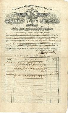 A Trieszti Általános Biztosító pesti ügynökségének éves díjfizetési igazolása, 1846