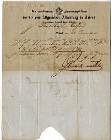 A Trieszti Általános Biztosító pesti ügynökségének fejléces levele, 1847