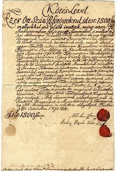 Adóslevél, Kerlen Ferenc és Rozália, 1500 forint, 1795