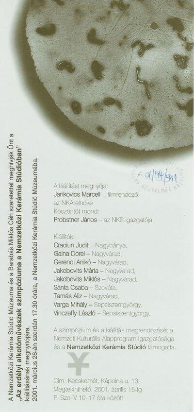 Meghívó Az erdélyi alkotóművészek szimpóziuma a Nemzetközi kerámia Stúdióban című kiállítás megnyitójára