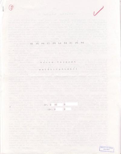 M. Benő: Sáncmunkán - Három fejezet  emlékirataimból