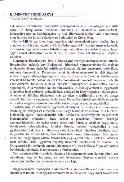 S. István: Kamenyec Podolszkij - egy szörnyű vérengzés