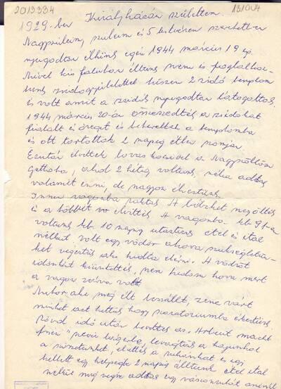 N. Lajosné B. Edit visszaemlékezése