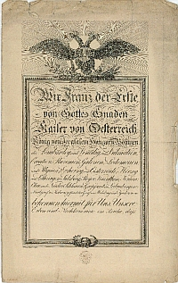 Kézzel írt okirat államadósságokról, Ferenc császár aláírásával, 1830