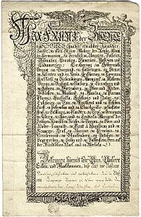 Kézzel írt okirat államadósságokról, Ferenc császár aláírásával, 1793