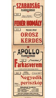 Szabadság és Apollo Filmszínház programjai 1949. február 2-8