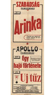 Szabadság és Apollo Filmszínház programjai 1949. június 29-július 5-ig