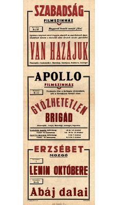 Szabadság és Apollo Filmszínház és az Erzsébet Mozgó programjai 1949. november 3-12