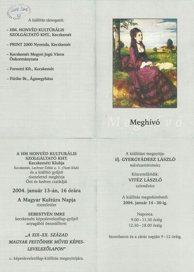 Meghívó Sebestyén Imre A XIX-XX. Század magyar festőinek művei képeslevelezőlapon című kiállításának megnyitójára