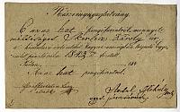 A Kisdedóvó-intézeteket terjesztő Egyesület nyugtája Skerlecz Károly részére, 1843