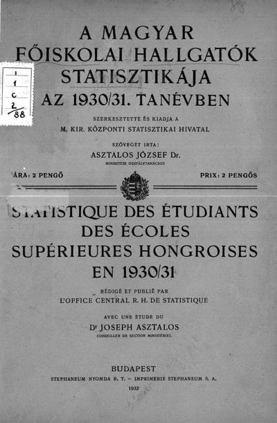 A magyar főiskolai hallgatók statisztikája az 1930/31. tanévben