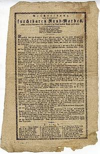 Pesti rablógyilkosság leírása német nyelven, verssel, 1833