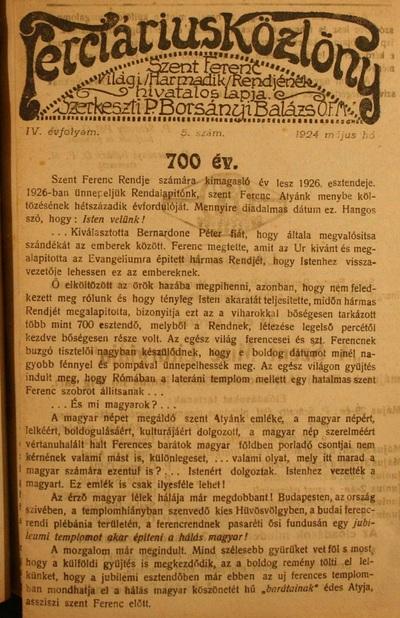 Terciárius Közlöny 1924. május