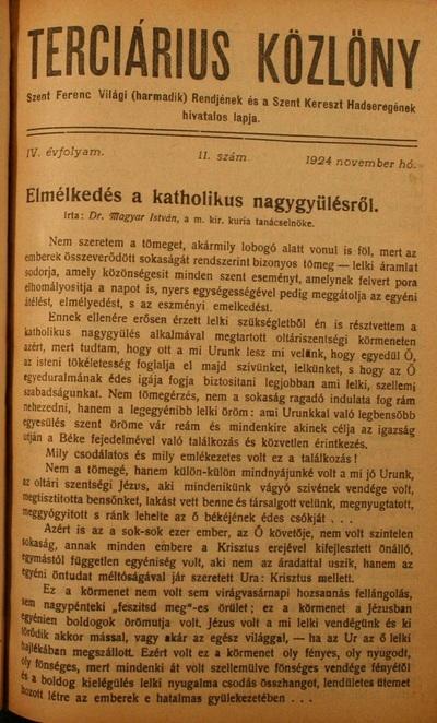 Terciárius Közlöny 1924. november