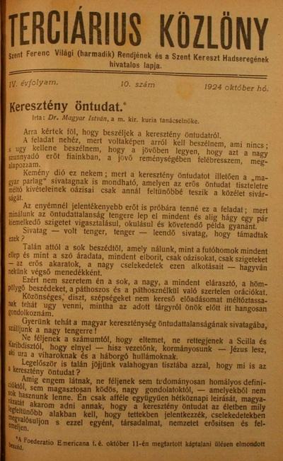 Terciárius Közlöny 1924. október