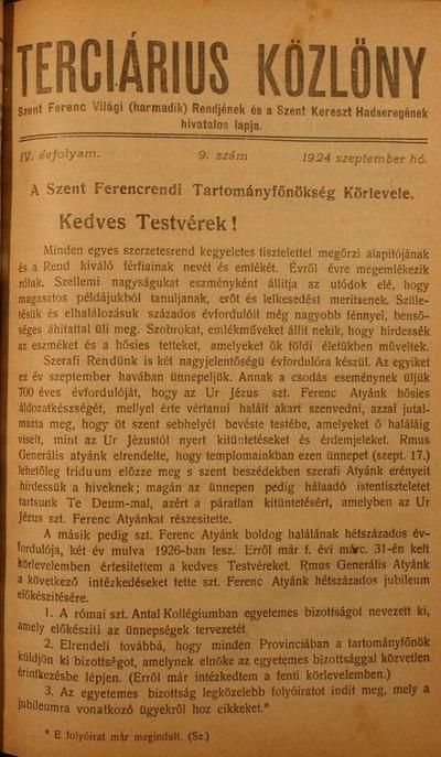 Terciárius Közlöny 1924. szeptember