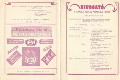 Hívogató : 1987. áprilisi programok a II. Rákóczi Ferenc Általános Iskolában