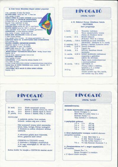 Hívogató : 1995/96. tanév októberi programjai a II. Rákóczi Ferenc Általános Iskolában