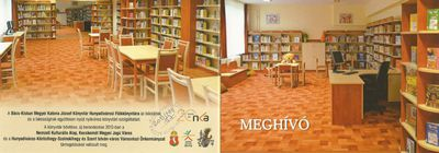 Meghívó a Bács-Kiskun Megyei Katona József Könyvtár Hunyadivárosi Fiókkönyvtárának átadó ünnepségére