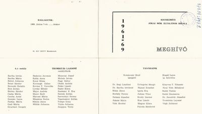 Meghívó a Jókai Mór Általános Iskola 1969-ban végzett tanulóinak ballagási ünnepségére