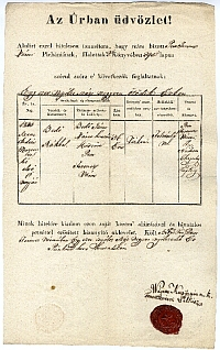 Bedő János huszár feleségének halotti bizonyítványa, 1848