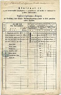 Aláírási ív a pesti leányárvaház alapítására gyűjtött adományokhoz, 1861