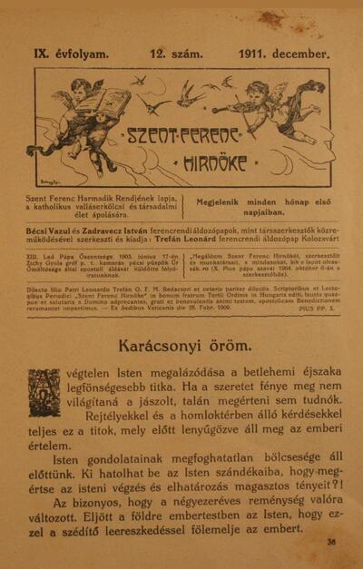Szent Ferenc Hírnöke 1911. december