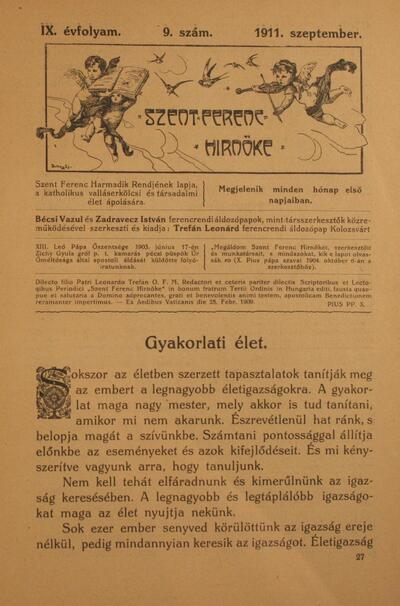 Szent Ferenc Hírnöke 1911. szeptember