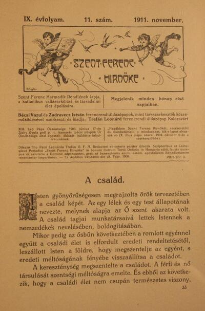 Szent Ferenc Hírnöke 1911. november