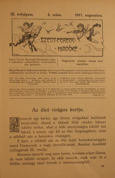 Szent Ferenc Hírnöke 1911. augusztus