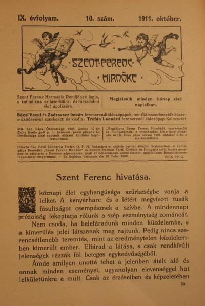 Szent Ferenc Hírnöke 1911. október